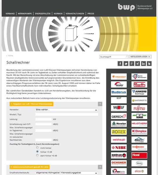 Schallrechner Vom Bundesverband Warmepumpe E V Bwp Internetfabrik De